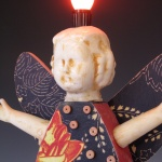 A detail view of the angel lamp.